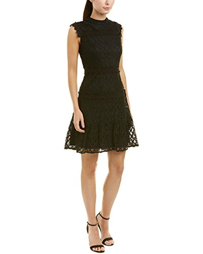 Julia Jordan Women's Sleeveless lace Mock Neck a-line Dress, Black, 12