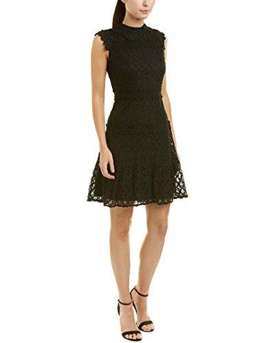 Julia Jordan Women's Sleeveless Lace Mock Neck a-Line Dress, Black, 4 by Julia Jordan