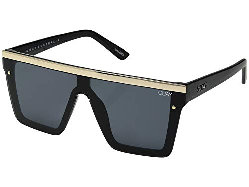 Quay Women's Hindsight with Gold Bar Sunglasses, Black/Gold/Smoke, One ()