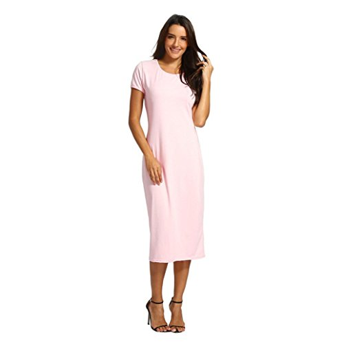 Clearance Sale! Wintialy Women Solid Short Length O-Neck Mid-Calf Straight Dress Princess Dress -