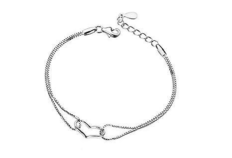 3d74a00434b7 Fashion plata de ley 925 corazón pulsera de cadena de plata las mujeres  joyería regalos  Amazon.es  Bricolaje y herramientas