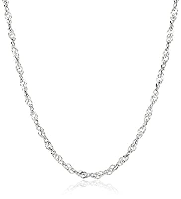 """14k Gold Solid Singapore Chain Necklace (2mm), 18"""" from Amazon Collection"""