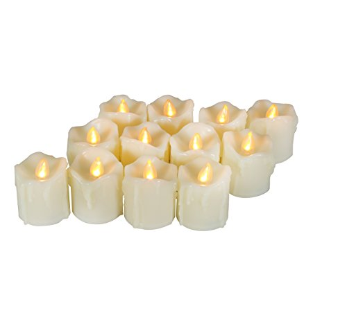 12 Battery Operated Flameless LED Votive Candles with Timer Realistic Flickering Electric Tea Lights Set Bulk Baptism Wedding Party Decoration Kitchen Home Decor Table Centerpieces Batteries Included]()