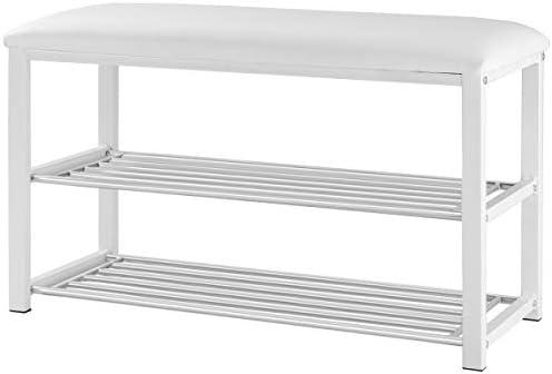 Giantex 2 Tier Entryway Storage Bench w/Shoe Rack Shelf Soft Stool Seat Home Furniture Shoe Organizer White