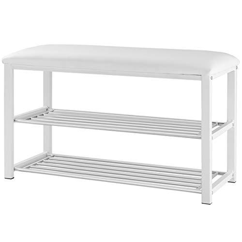 Giantex 2 Tier Entryway Storage Bench w/Shoe Rack Shelf Soft Stool Seat Home Furniture Shoe Organizer (White) (Shoe Bench Small White)