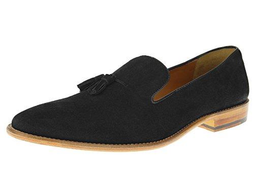 [Luciano Natazzi Mens Slip-On Full Leather Tassel loafer Dress Shoe SL307 (42 M EU / 9 D(M) US, Black)] (Italian Suede Penny Loafer)