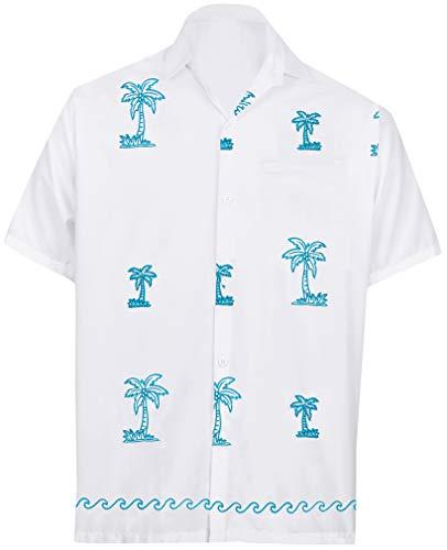 LA LEELA Rayon Luau Vacation Point Collar Shirt White 21 2XL |Chest 54
