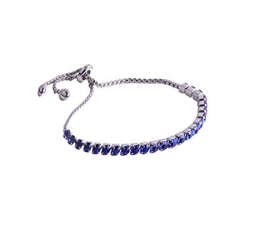 AZFEIYA Sapphire Blue Bracelet Adjustable Bolo Jewelry Bar Bracelet AAA CZ Bracelet Wedding Bracelet (Blue) ()