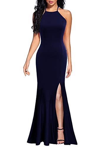 Lyrur Women's Summer Sleevless Formal Maxi Fishtail Long Evening Dresses Sexy Mermaid Side Slit(XL, 9071-Navy)