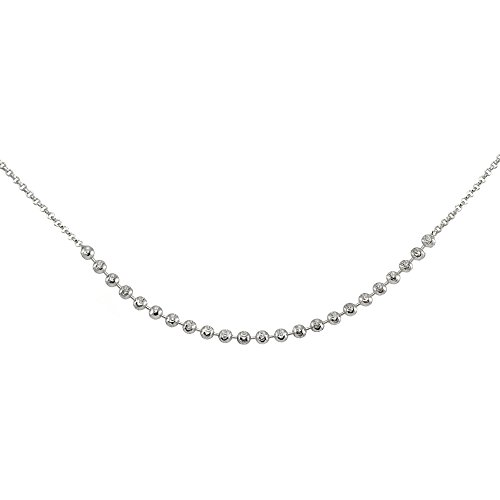 Faceted Bead Chain - GemStar USA Sterling Silver Faceted Beads Italian Chain Choker Necklace