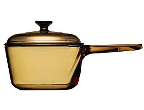 Vintage Corning Visions Visionware 1.5L Amber Sauce Pan Pot