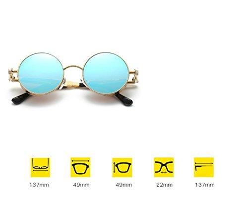 Espejo Pierna Retro Metal de Actual Redondo sol de Pierna de reflexivo Gafas de D la RFVBNM de Marco A Sol Señora Gafas la Color Xqw1xO400