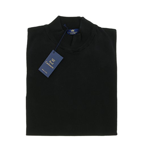 Real Cashmere Mock Neck Big Mens Black Sweater (Detailed Mock Neck Sweater)