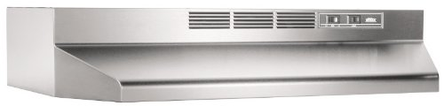 Broan 412404 ADA Capable Non-Ducted Under-Cabinet Range Hood, 24-Inch, Stainless Steel (24 Range In)