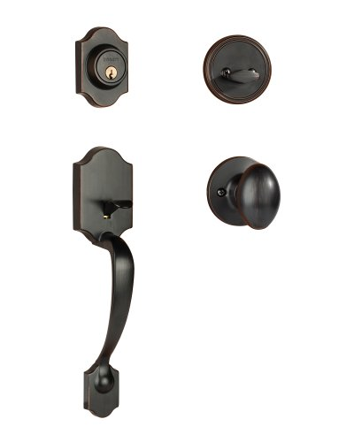 Dynasty Hardware DEN-ASP-100-12P Denver Front Door Handleset, Aged, Oil Rubbed Bronze with Aspen Knob ()