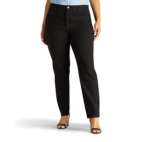 Lee Women's Plus-Size Relaxed Fit Side Elastic Tapered Leg Jean, Black Stretch, 28W ()