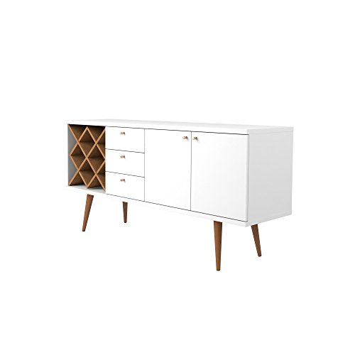 Manhattan Comfort Utopia Collection Mid Century Modern Sideboard Buffet Stand With 4 Bottle Wine Rack, Cabinet and 3 Drawers, Splayed Legs, White by Manhattan Comfort (Image #4)'