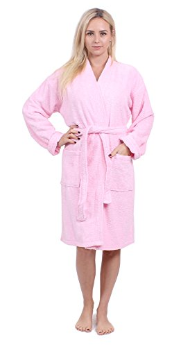 Turkuoise Women's Terry Cloth Robe Turkish Cotton Terry Kimono Collar (Large/One Size, Pink)