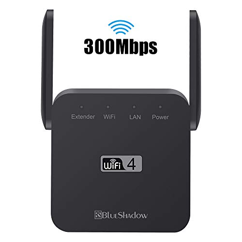 Blueshadow WiFi Range Extender – 2.4G High Speed Signal Booster 300Mbps | Wi-Fi Amplifier Repeater| External Antennas & Compact Designed Internet Booster (300Mbps-black)