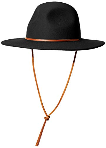 Brixton Men's Tiller III Wide Brim Felt Fedora HAT, Black, XS (Hat Fedora Xs)