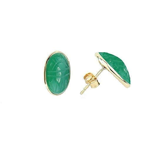 14K Yellow Gold Stud Scarab Earrings With Oval Shaped Green Onyx Gemstones (Scarab Earrings)