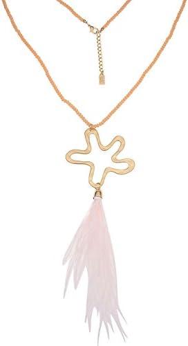 Leslii Lange Damen-Kette Statement Flower Blumenkette Halskette Modeschmuck Feder-Anhänger aus Glasperlen mit Federn Länge 83cm in Gold Apricot Rosa