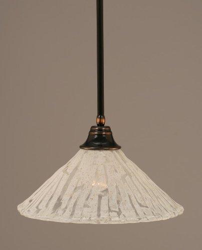 Toltec Lighting 26-BC-719 Stem Pendant Light Black Copper Finish with Italian Ice Glass Shade, 16-Inch - Glasses 719