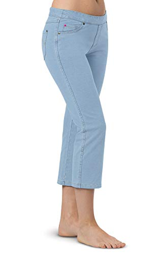 PajamaJeans Womens Capris - Capri Jeans for Women, Clearwater Wash, Large 12-14