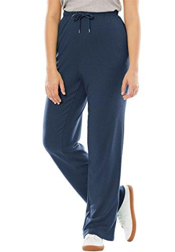 Women's Plus Size Sport Knit Straight Leg Pant - Navy Pants Knit