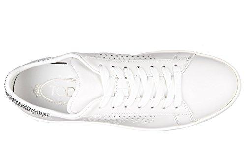 Tod's scarpe sneakers donna in pelle nuove cassetta leggera 12a allacciata bianc