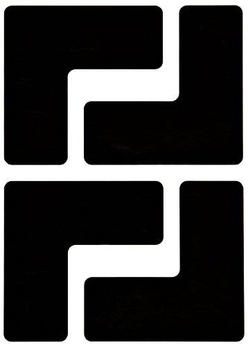 Brady ToughStripe Nonabrasive  L Shape Floor Marking Tape, 5 Length, 2 Width, Black (Pack of 20 per Roll)