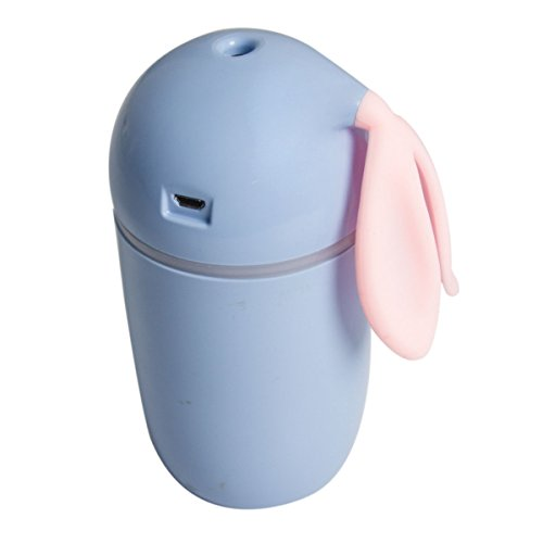Ayaya Mini Humidifier 200ML Air Purifier Water Aroma Essential Oil Diffuser Cool Mist Humidifier USB Desktop Air Cleaner with LED Light Cute Rabbit Blue Design for Home Office Study Yoga Spa
