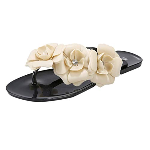 (Yucode Women Slippers Candy Color With Beautiful Camellia Beach Non-Slip Clip-Toe Slipper - Flower Shoes Flip Flops)