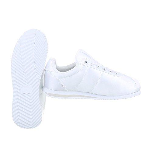 Damen-Schuhe Unisex Turnschuhe Herren-Schuhe Low-Top Sneaker Ital-Design Schnürer Weiß AB-131