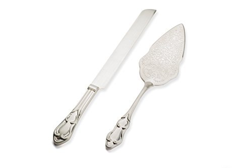 Strova Silver Wedding Cake Knife and Server Set | Vintage Bride and Groom Utensils | Elegant, Memorable Keepsakes | Engravable Plating | Party, Anniversary or Reception