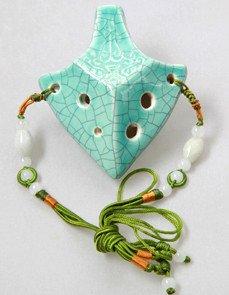 Excalibur Soprano C 6 Holes Jade Crackle Glaze Ceramic Ocarina - Dexterous, Easy to Learn, Good for Beginner & Great Gift! Linn's Arts! -