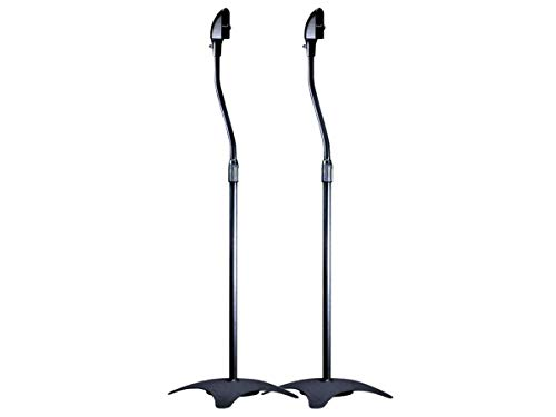Monoprice 5 lb. Capacity Speaker Stands - Black (Pair) Height Adjustable From About 26.8in to 43.3in
