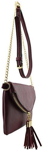 bag Soft detail shoulder crossbody chain leather tassels Wine small envelope with detail qxxrHFwY