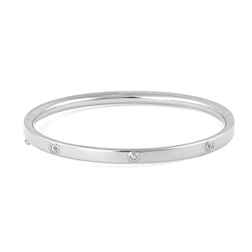 5 1/4 Inches Children 14K White Gold 3-Diamond Bangle Bracelet For Girls by Loveivy