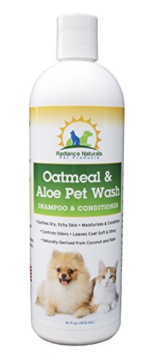 All Natural Pet Oatmeal & Aloe Shampoo Plus Conditioner For Dogs, Cats, Puppies | Best Formula for Dry Itchy Skin & Allergies | Hypoallergenic Anti Itch Treatment Moisturizes, Deodorizes|16 oz
