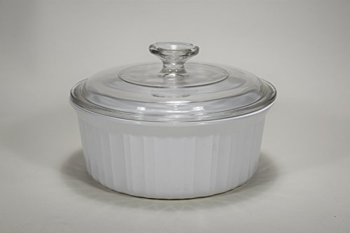 "(Vintage Corning Ware FRENCH WHITE pattern 8"" inch ROUND SOUFFLE DISH 1.6 LITRE / 1.5 QUART PYROCERAM – smooth bottom ALL WHITE BAKING CASSEROLE Mfg # F-5-B (F 5 B) F SERIES)"