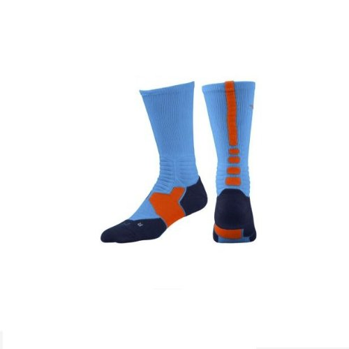 NIKE Hyper Elite Basketball Crew Socks - M - Blue Hero/Midnight Navy/Team Orange (Nike Socks Navy Elite Orange And)