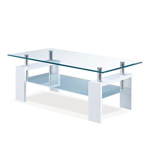 Amazon.com: Global Furniture Clear/Frosted Occasional Coffee Table With  Glossy White Legs: Kitchen U0026 Dining