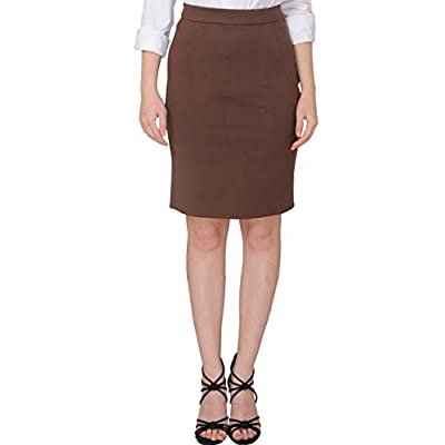 Marycrafts Women's Work Office Business Pencil Skirt M Brown at Women's Clothing store