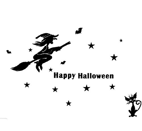 Leewos Happy Halloween! Wallpaper, Witch Bats Black Cat Wall Stickers Party Home Decor Decals 120x80cm (Black) ()