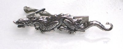 Glazed Black Cherry Steampunk SEA Dragon Serpent Men's Tie Bar Clip Pin AS 3