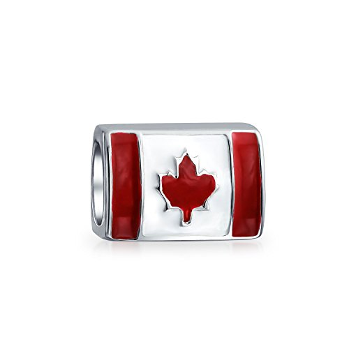 Canadian Jewelry (Bling Jewelry Canadian Flag Bead Sterling Silver Barrel Charm)