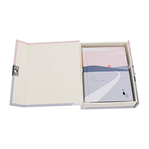 Lockable Diary,Lockable Journal Vintage Diary Notebook Hardcover Travel Writing Journal with Lock Notepad 256 Creative Colors Pages Life Record Memo Magic Book with Code Lock Gift Box Silver