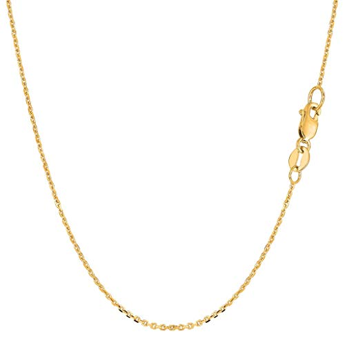 14K Yellow or White Gold 1.2mm Shiny Diamond-Cut Round Cable Link Chain Necklace for Pendants and Charms with Lobster-Claw Clasp (16