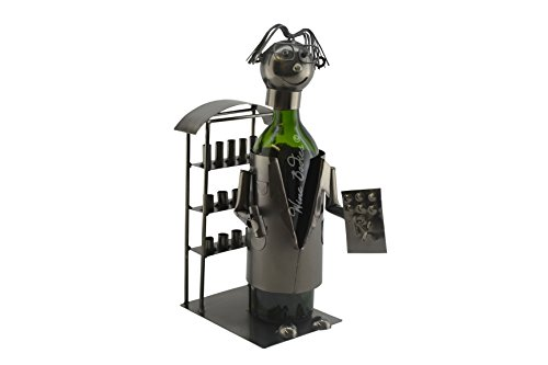 WINE BODIES ZB1200 Pharmacist Metal Wine Bottle Holder, Charcoal For Sale